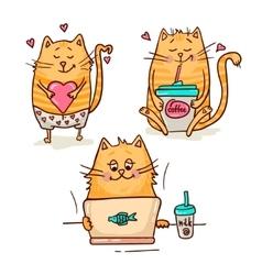 cute cats set vector image vector image