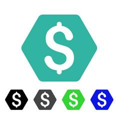 Dollar hexagon flat icon vector
