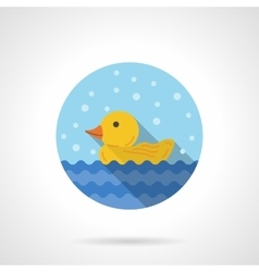 Duckling round flat color icon vector