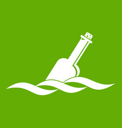 Glass bottle in a water icon green vector