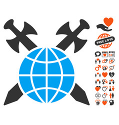 global protection icon with love bonus vector image vector image