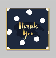 golden thank you brush message on dark navy blue vector image vector image