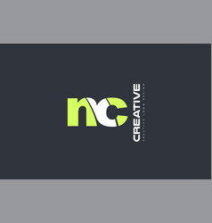 green letter nc n c combination logo icon company vector image vector image