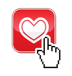 Heart button with cursor hand icon - velntines vector image