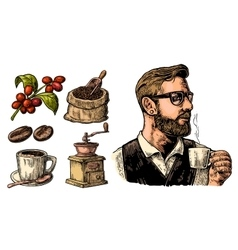 Hipster barista holding a cup of hot coffee sack vector
