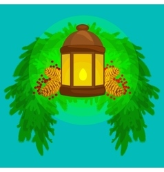 Lantern stands on the spruce branches and candle vector