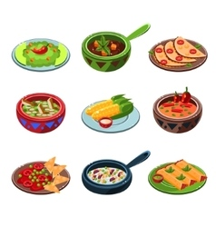 Mexican national food set vector