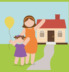 Mom and daughter celebration house vector