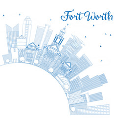 Outline fort worth usa skyline with blue vector