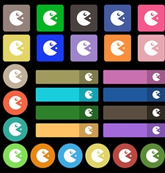 Pac man icon sign set from twenty seven vector
