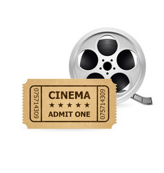 Retro cinema ticket and film reel of designer vector