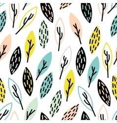 Seamless hand drown leaf pattern vector
