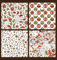 set of cartoon merry christmas seamless patterns vector image