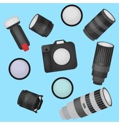 Set of photo studio equipment camera and optic vector image