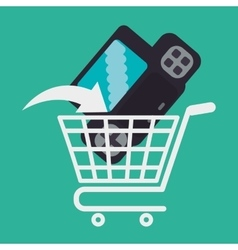 Shopping online game cart console vector