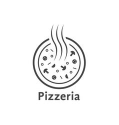 simple outline pizzeria logo vector image