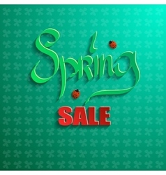 Spring sale on a green background vector image vector image