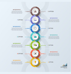 Timeline business vertical infographic template 7 vector