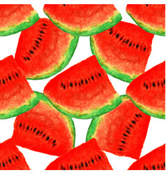 Watermelon seamless watercolor pattern juicy vector