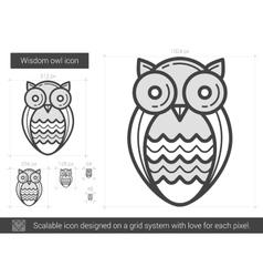 Wisdom owl line icon vector