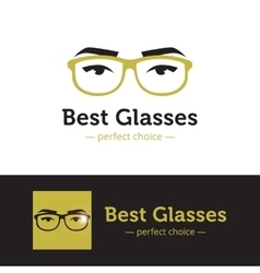Woman eyes with glasses logo in trendy vector
