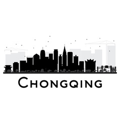 Chongqing city skyline black and white silhouette vector