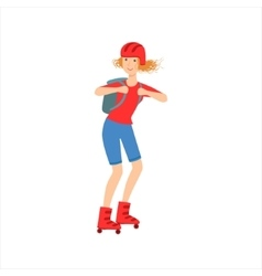 Happy Sportive Girl Skateboarding With The vector image