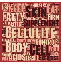 Foods and supplements that control cellulite text vector