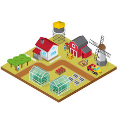 farmyard isometric game model icon vector image