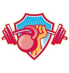 Hand lifting barbell kettlebell crest vector