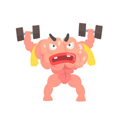 Muscular humanized cartoon brain character vector