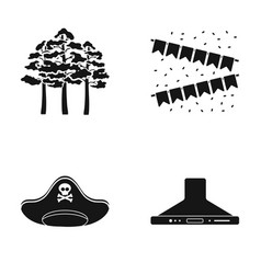 Trees flags and other web icon in black style vector