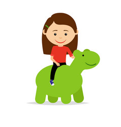 Girl sitting on green dinosaur toy vector