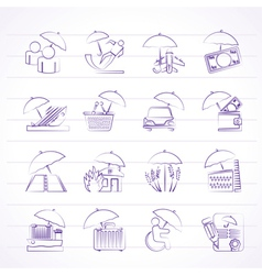 insurance and business icons vector image