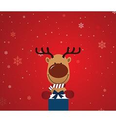 Reindeer holding giftbox vector