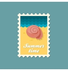 Seashell flat stamp summertime vector