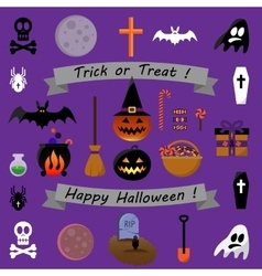 Set of halloween icons - stock vector
