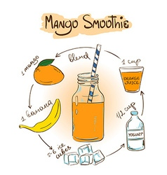 Sketch mango smoothie recipe vector