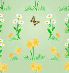 Seamless texture spring meadow narcissus and daisy vector