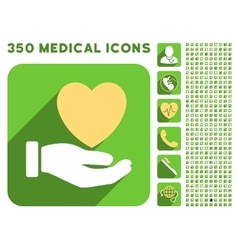 Heart charity hand icon and medical longshadow vector