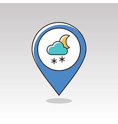 Cloud snow moon pin map icon meteorology weather vector