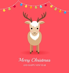 Christmas card with cute deer and garlands vector image