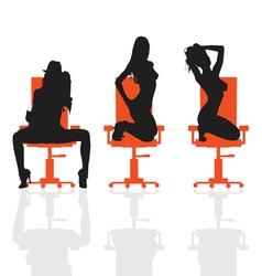 Girl set on chair silhouette vector