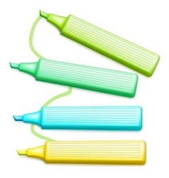 Colored highlighter pens set vector