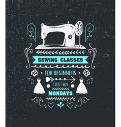 Sewing classes poster flyer vector