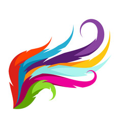 Abstract wing with colorful feathers decorative vector