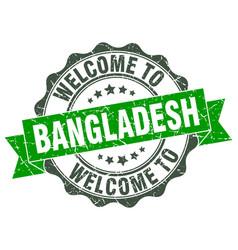 Bangladesh round ribbon seal vector