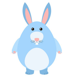 blue bunny on white background vector image vector image