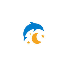Blue dolphin yellow moon and starry sky logo on vector