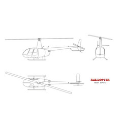 Blueprint of helicopter top front and side view vector